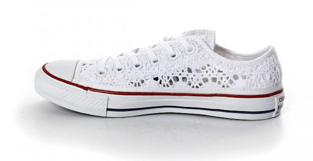 converse donna basse bianche pizzo