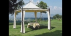 Gazebo in ferro con camino antivento
