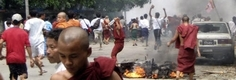 La marcia di protesta dei monaci in Myanmar