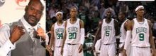 Shaquille O'Neil a Boston con Garnett, Rondo e Pierce